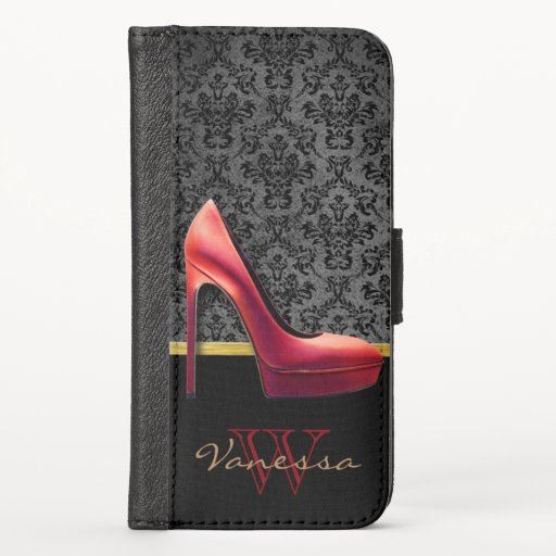 Red High Heel & Damask Print & Monogram iPhone X Wallet Case