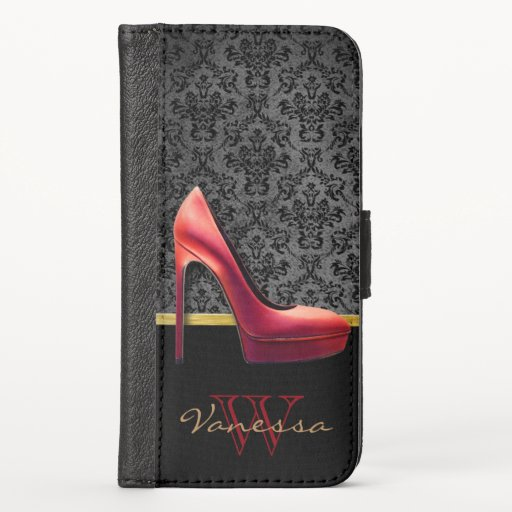 Red High Heel & Damask Print & Monogram iPhone XS Wallet Case