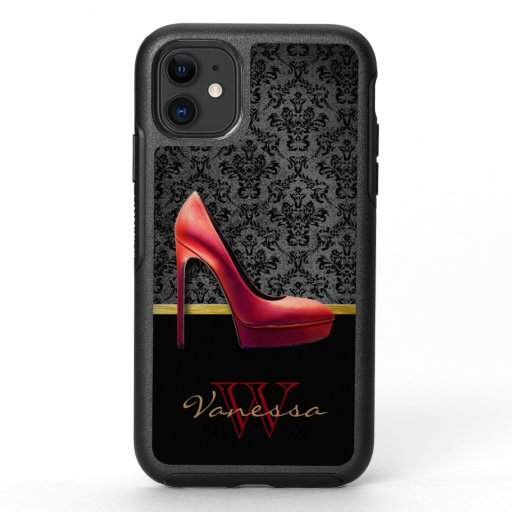 Red High Heel & Damask Print & Monogram OtterBox Symmetry iPhone 11 Case