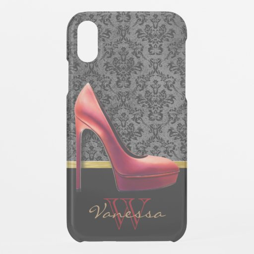 Red High Heel & Damask Print & Monogram iPhone XR Case