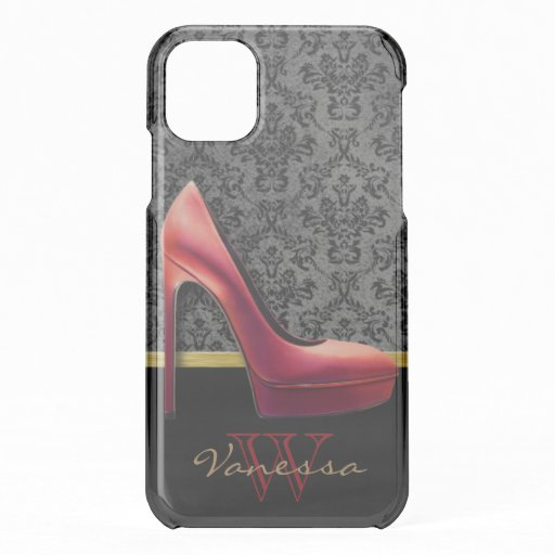 Red High Heel & Damask Print & Monogram iPhone 11 Case
