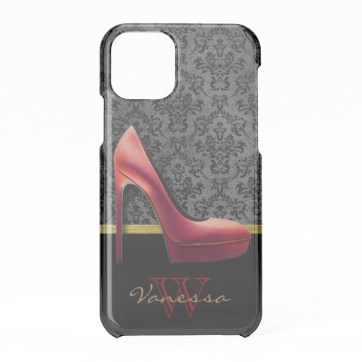Red High Heel & Damask Print & Monogram iPhone 11 Pro Case