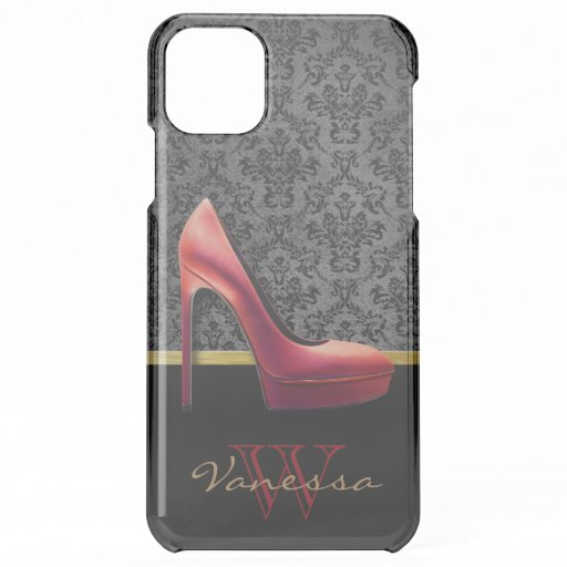 Red High Heel & Damask Print & Monogram iPhone 11 Pro Max Case