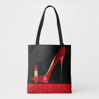 Red High Heel Lipstick Damask Pattern Print Design Tote Bag