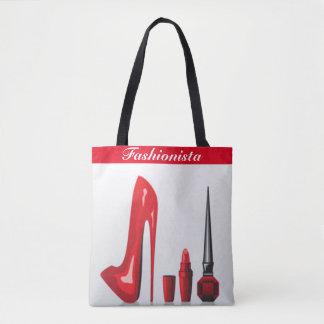 Red High Heel Lipstick Nail Polish Fashionista Tote Bag