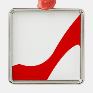 Red High Heel Square Metal Christmas Ornament