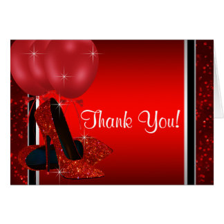 Red High Heel Shoe Thank You Stationery Note Card