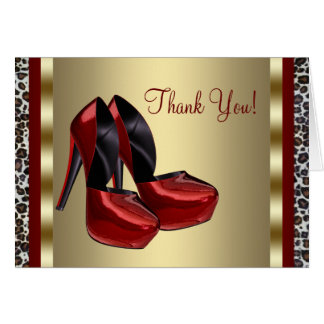 Red High Heel Shoe Thank You Cards Note Card