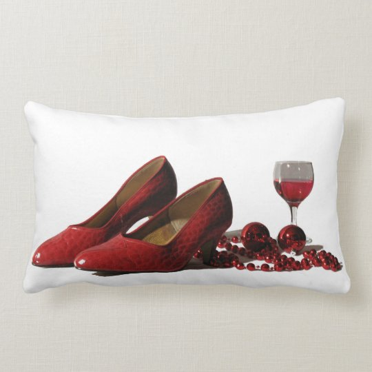 Red High Heel Shoes and Red Wine Lumbar Pillow