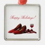 Red High Heel Shoes and Red Wine Christmas Ornaments