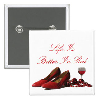 Red High Heel Shoes and Red Wine Pinback Button