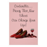 Red High Heel Shoes and Red Wine Posters