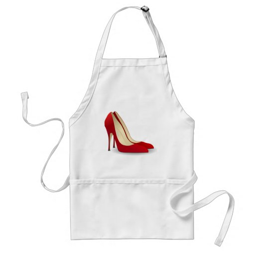 red high heel shoes apron