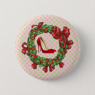 Red High Heel Shoes / Christmas Wreath Button