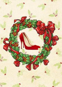 red high heel shoes christmas wreath holiday card - Horseshoe Christmas Wreath