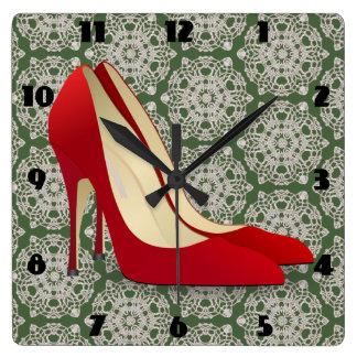 red high heel shoes clock