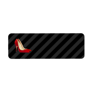 red high heel shoes label return address label