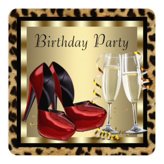 Red High Heel Shoes Leopard Birthday Customized Invitation Card