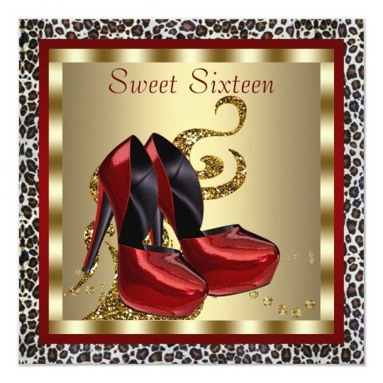 Red High Heel Shoes Leopard Sweet Sixteen Birthday Card