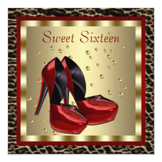 Red High Heel Shoes Leopard Sweet Sixteen Birthday Personalized Invitations