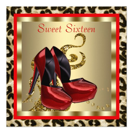 Red High Heel Shoes Leopard Sweet Sixteen Birthday Personalized Announcement