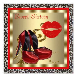 Red High Heel Shoes Leopard Sweet Sixteen Birthday Custom Invites