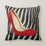 red high heel shoes pillow