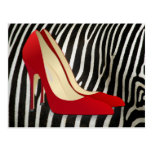 red high heel shoes post card