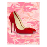 red high heel shoes postcards