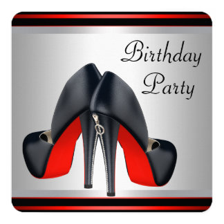 Red High Heel Shoes Red and Black Birthday Party Card