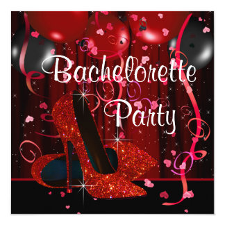 Red High Heel Shoes Red Bachelorette Party Card