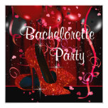 "Red High Heel Shoes Red Bachelorette Party 5.25"" Square Invitation Card"