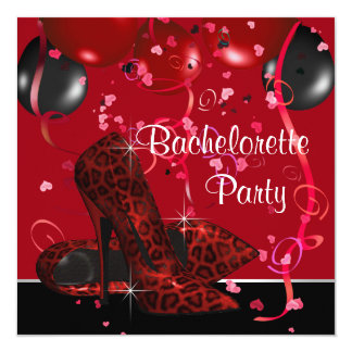 Red High Heel Shoes Red Bachelorette Party 5.25x5.25 Square Paper Invitation Card
