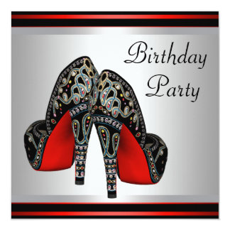 Red High Heel  Shoes Red Black Birthday Party Card