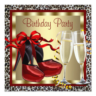 Red High Heel Shoes Red Leopard Birthday Invitation