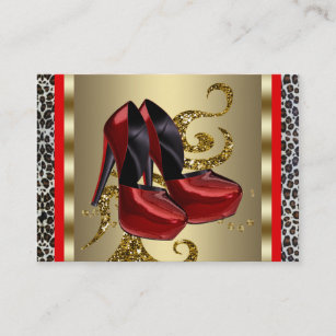 Leopard business cards 1800 leopard business card templates red high heel shoes red leopard business cards colourmoves