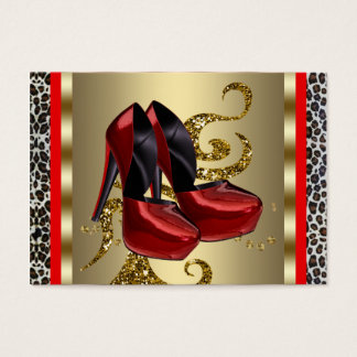 Red High Heel Shoes Red Leopard Business Cards