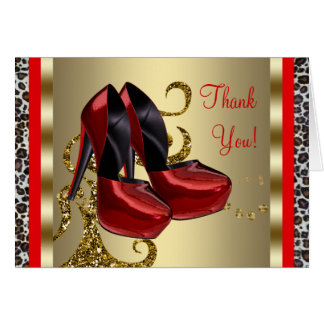 Red High Heel Shoes Red Leopard Thank You Cards