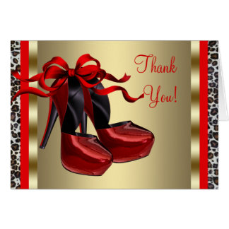 Red High Heel Shoes Red Thank You Card
