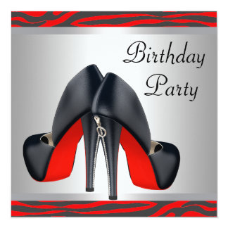 Red High Heel Shoes Red Zebra Birthday Party Card