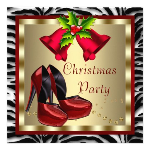 Red High Heel Shoes Red Zebra Christmas Party Invitations