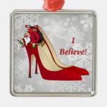Red High Heel Shoes / Santa Elf / I Believe! Christmas Tree Ornaments