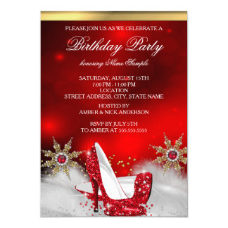 Red High Heel Shoes Silver Gold Birthday Party Card