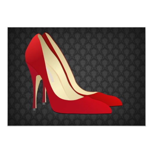 red high heels 5x7 paper invitation card