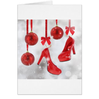 Red High Heels and Christmas Balls and Red Ribbon Card