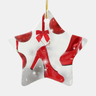 Red High Heels and Christmas Balls and Red Ribbon Ceramic Ornament