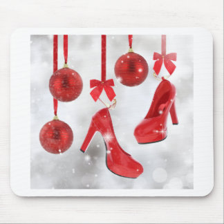 Red High Heels and Christmas Balls and Red Ribbon Mouse Pad