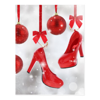 Red High Heels and Christmas Balls and Red Ribbon Postcard
