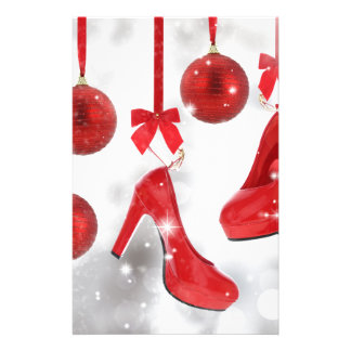 Red High Heels and Christmas Balls and Red Ribbon Stationery