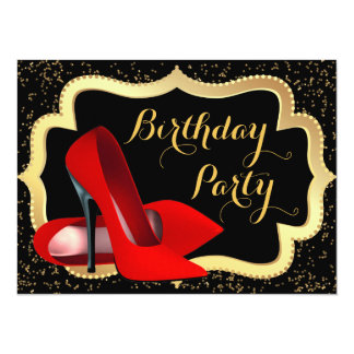 Red High Heels Birthday Party Card